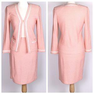 St. John Collection Peach Open Knit Skirt Suit
